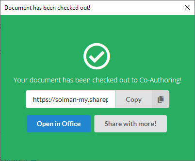 Screenshot showing the checked out to co-authoring confirmation message.